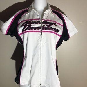 Harley-Davidson White Pink Short Sleeve Zip Shirt